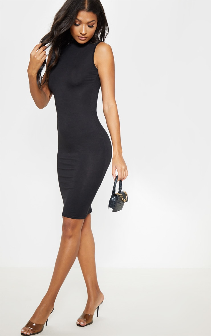 Black High Neck Sleeveless Midi Dress 4