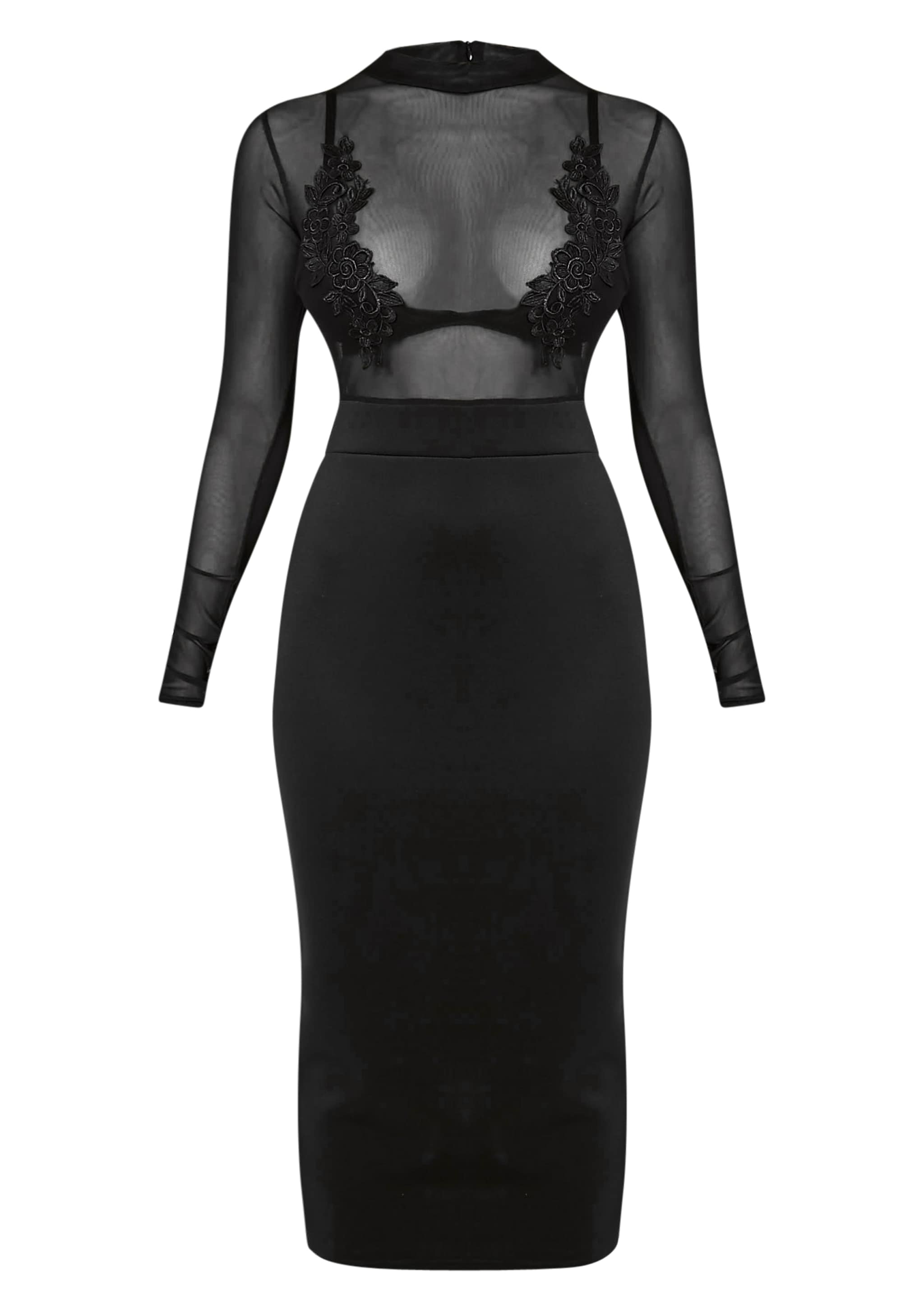 Fabia Black High Neck Applique Mesh Midi Dress 3
