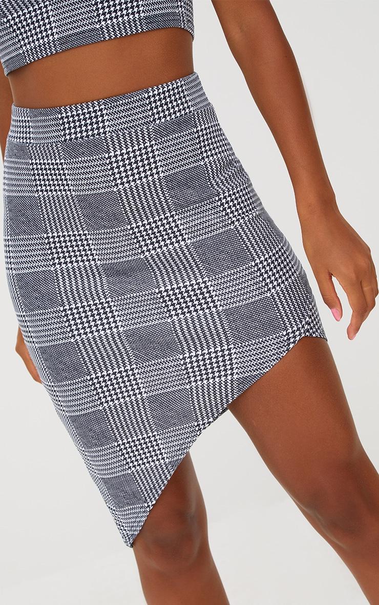 Black Check Asymmetric Hem Midi Skirt 6