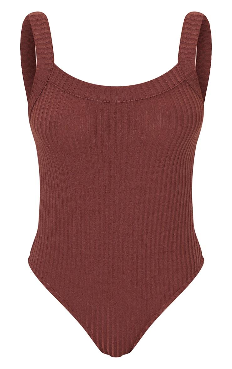 Chocolate Jumbo Rib Thick Strap Sleeveless Bodysuit 5