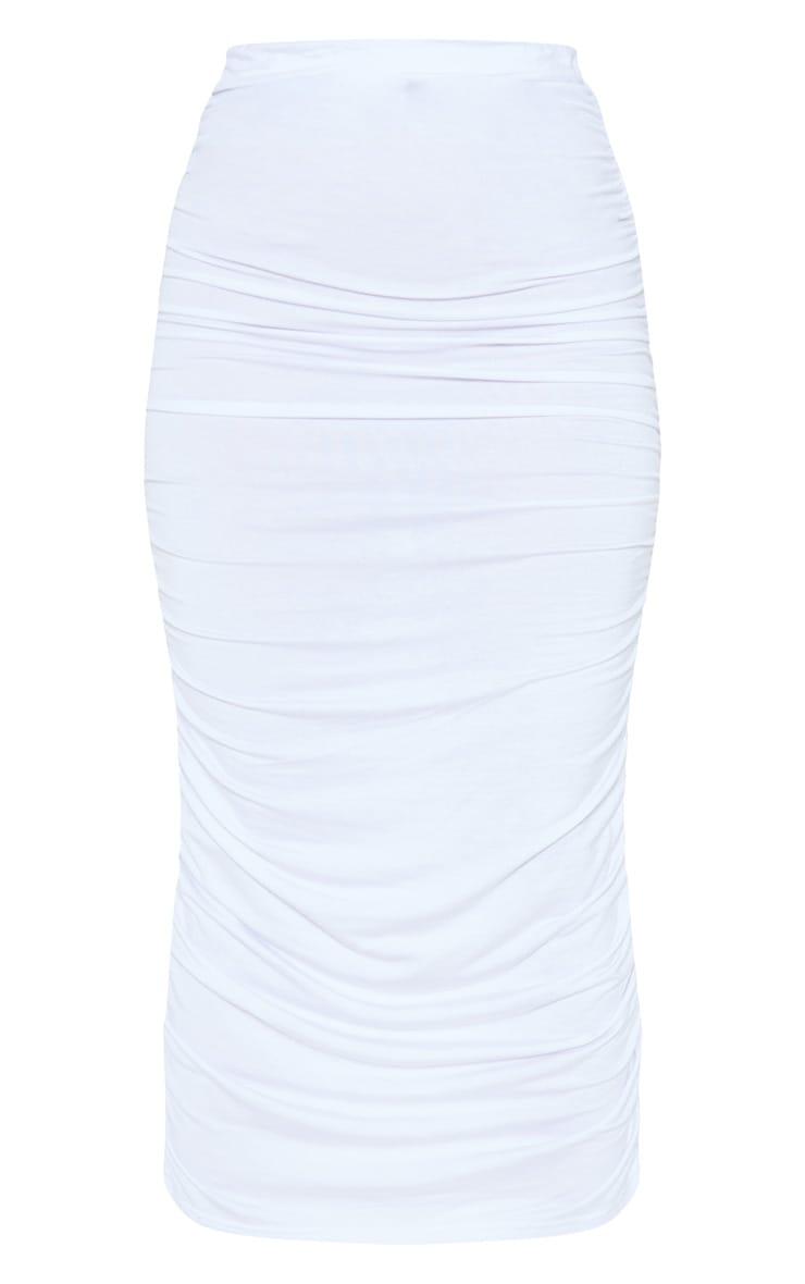 White Ruched Midaxi Skirt 3