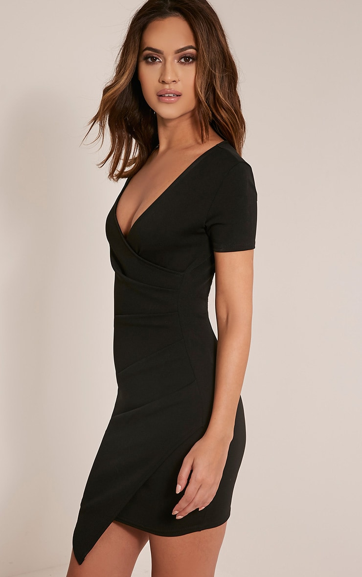 Amarnie Black Capped Sleeve Bodycon Dress 4