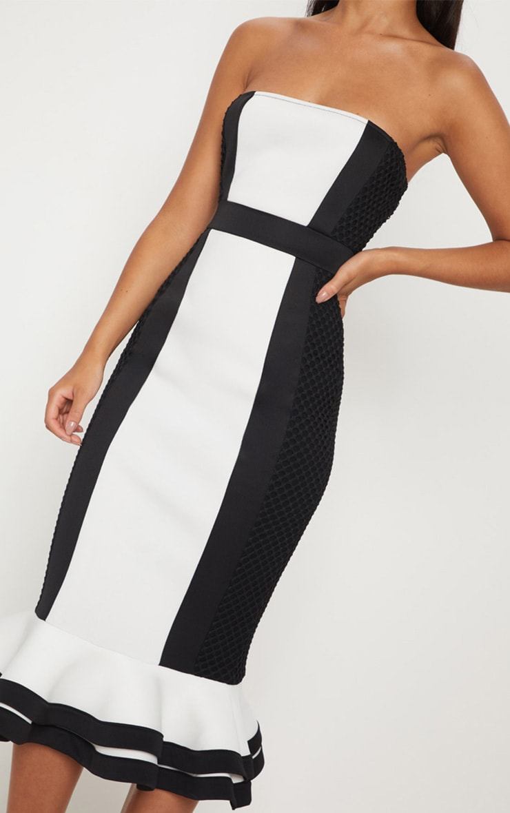 Monochrome Bandeau Contrast Detail Fishtail Midi Dress 5