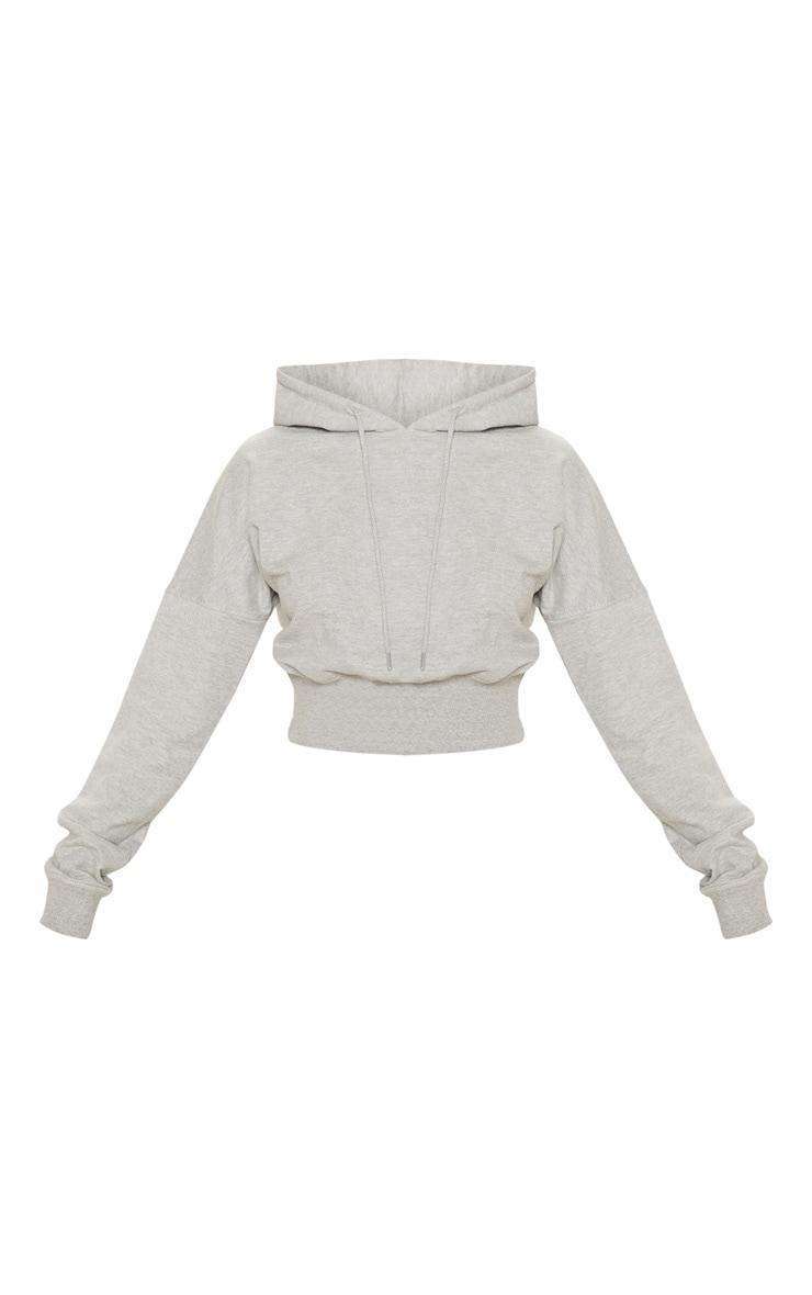 Grey Thick Hem Crop Hoodie 3
