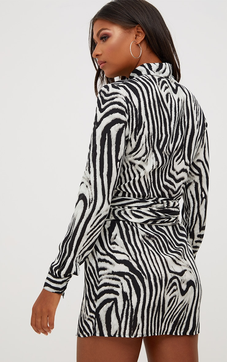 Black Zebra Tie Waist Shirt Dress 2
