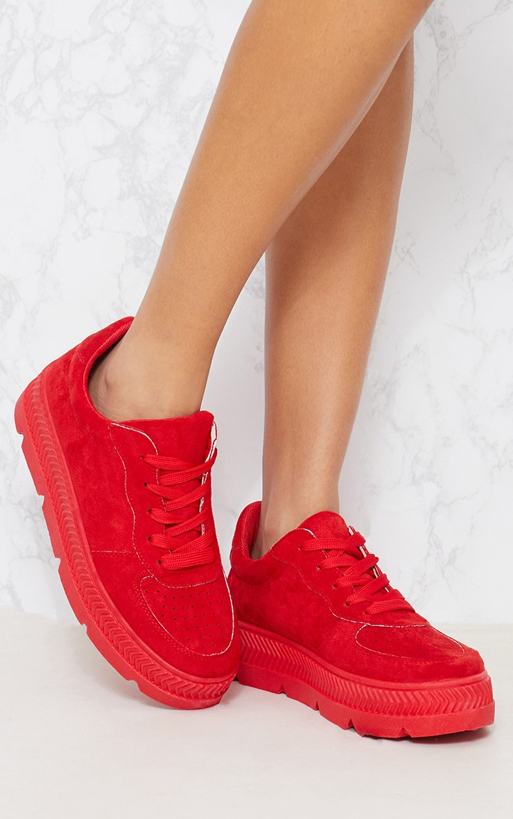 Red Cleated Sole Flatform Trainers 1
