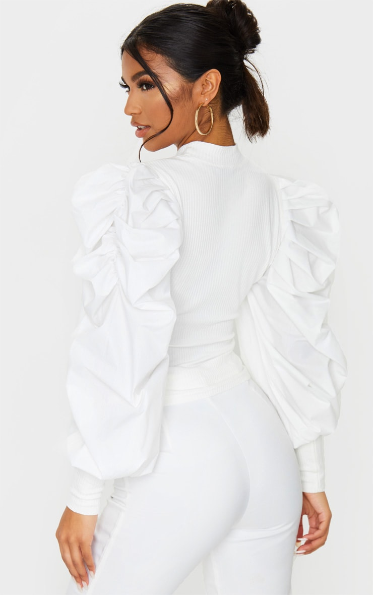 White Pleated Sleeve Jersey Rib Top 2