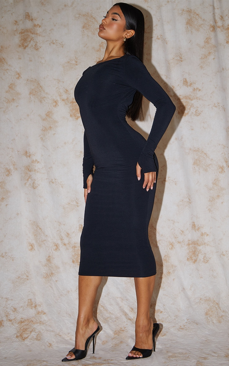 Recycled Black Contour Jersey Long Sleeve Thumb Hole Scoop Back Midaxi Dress 3