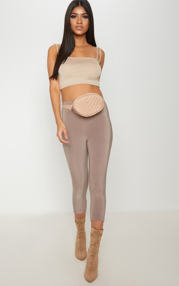 Basic Nude Jersey Double Strap Crop Top 1