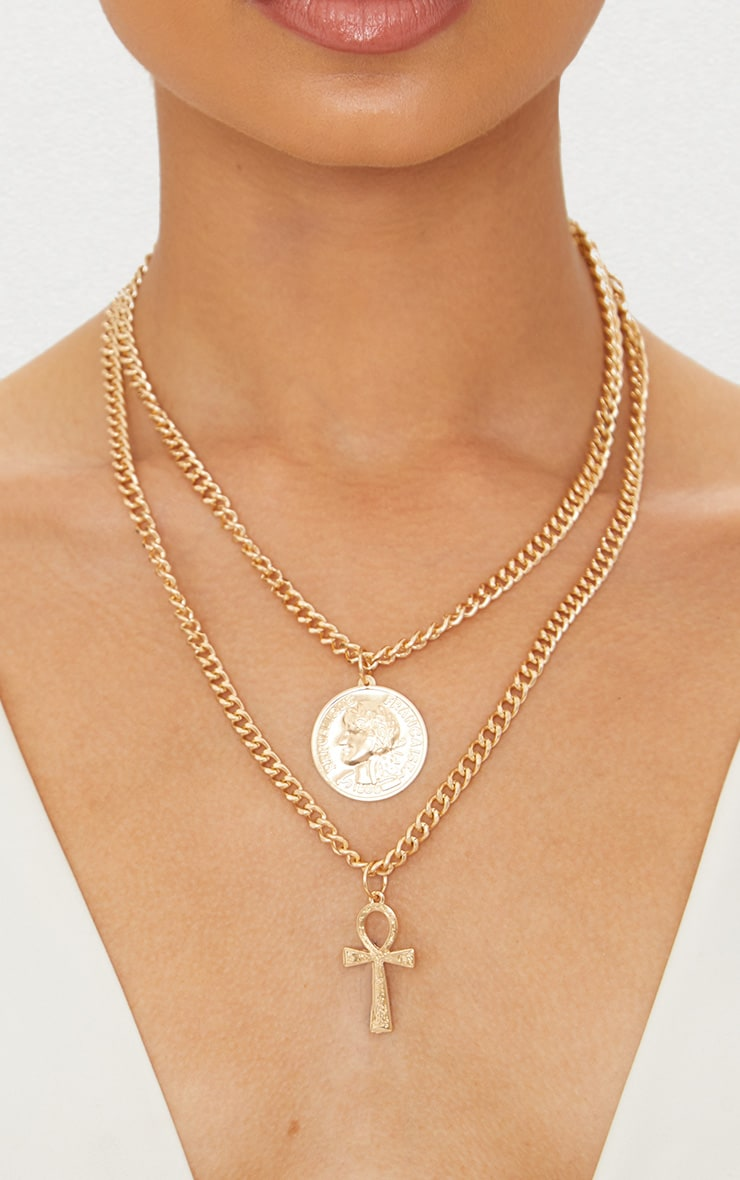 Gold Renaissance Coin and Cross Chunky Chain Necklace
