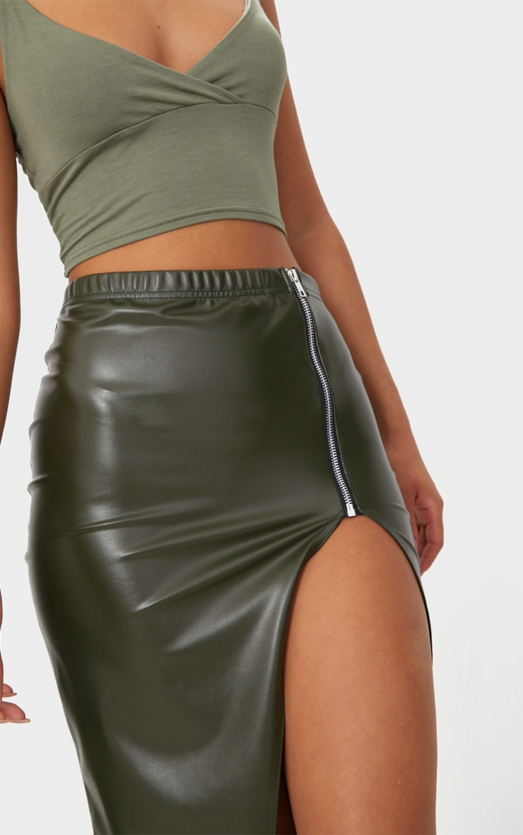 Khaki Faux Leather Extreme Split  5