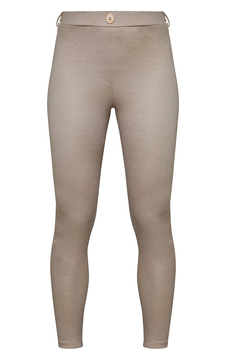 Taupe Stretch Button Detail Skinny Trousers 5