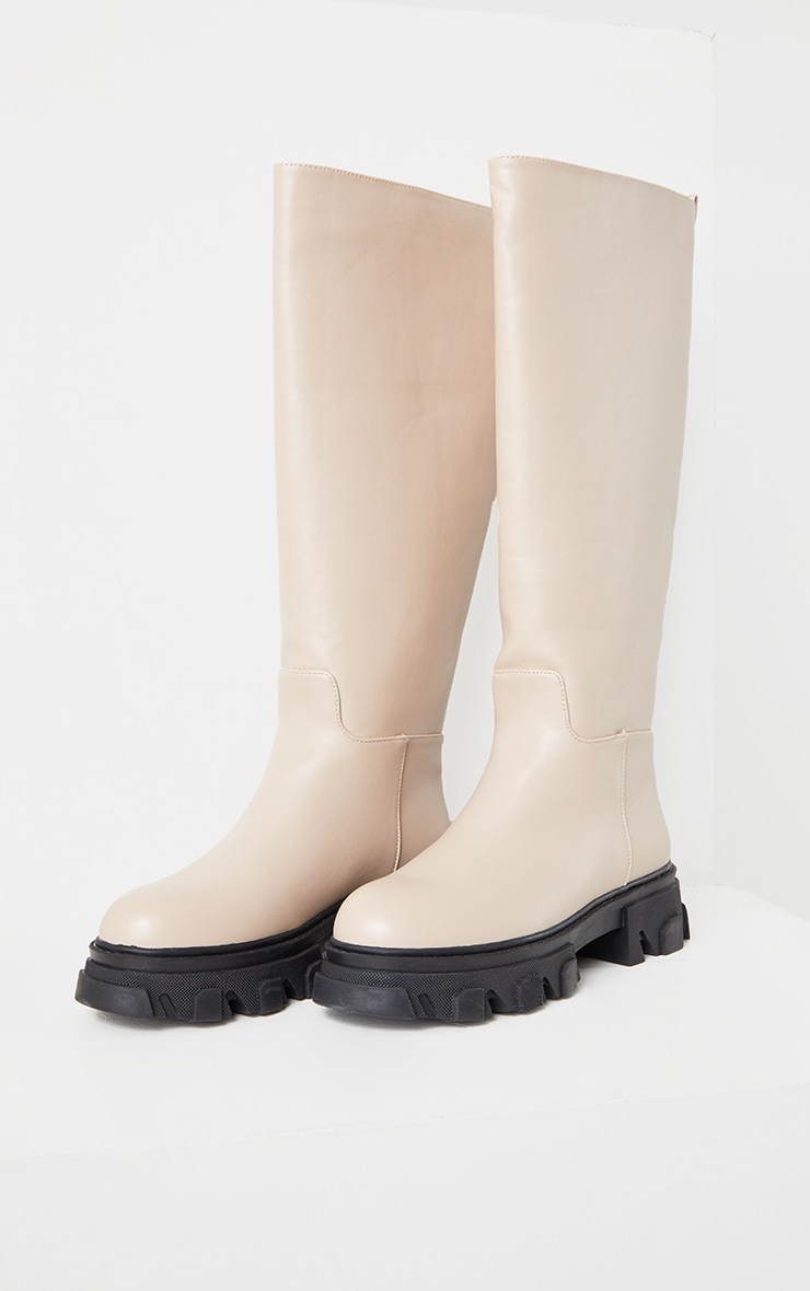 Beige Extreme Cleated Sole Calf High Wellie Boots 3
