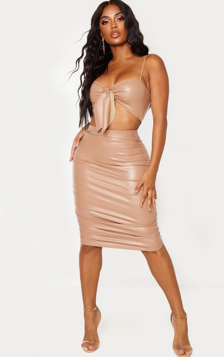 Shape Taupe PU Ruching Midi Skirt 1
