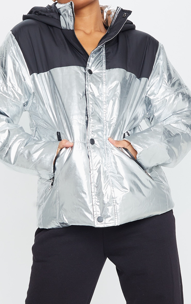 PRETTYLITTLETHING Silver Metallic Contrast Panel Puffer Jacket 4