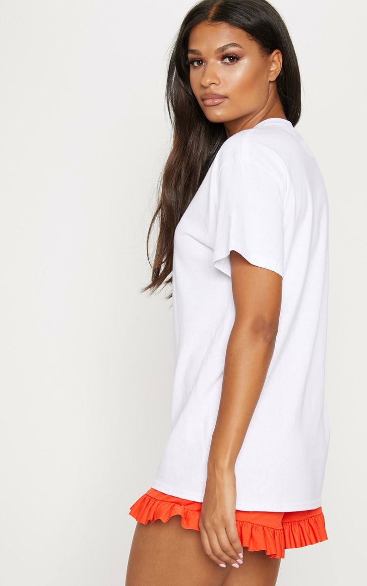 White Embroidered Capri Oversized Tshirt 2