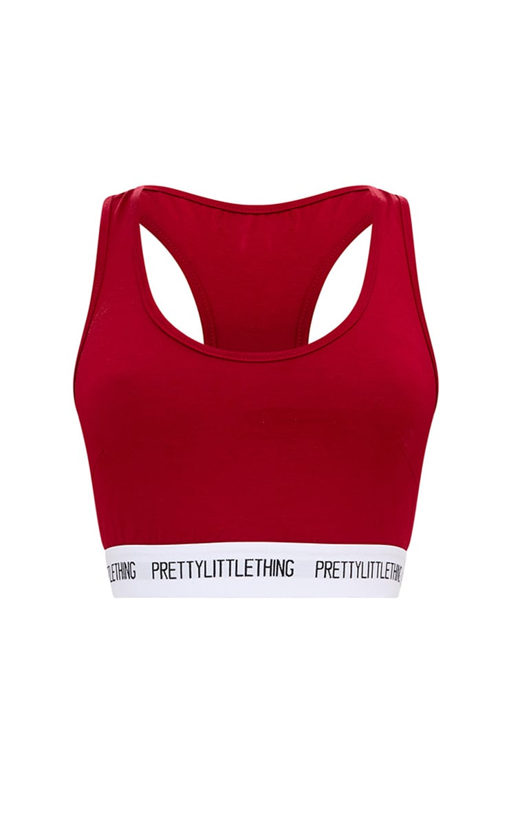PRETTYLITTLETHING Burgundy Sports Bra 3
