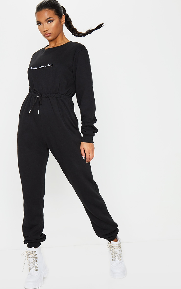 PRETTYLITTLETHING Black Embroidered Sweat Jumpsuit 3