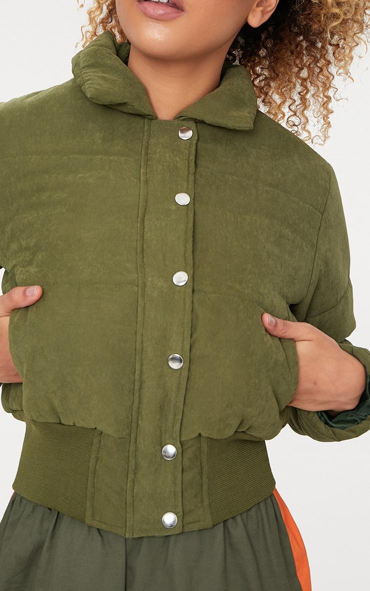 Khaki Peach Skin Cropped Puffer Jacket 5