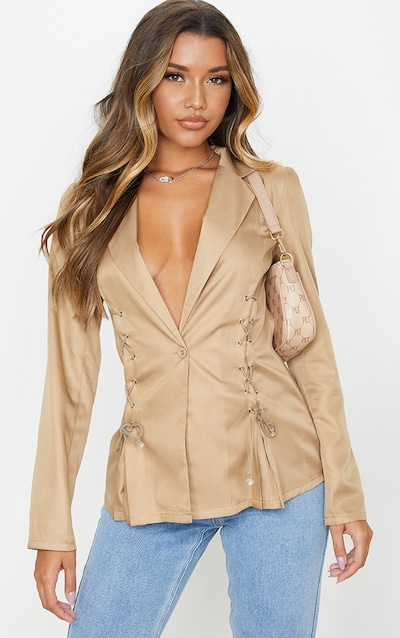 Camel Woven Lace Up Detail Blazer