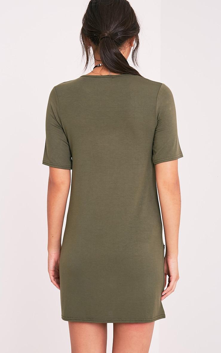 Basic robe t-shirt à poche kaki 2