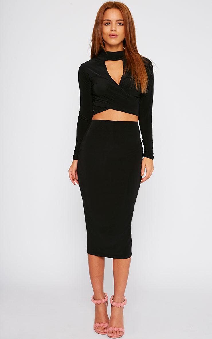 c72c36df9a Siobhan Black Slinky Midi Skirt - Skirts - PrettyLittleThing ...