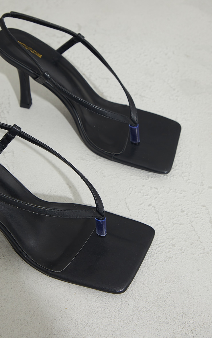 Black Pu Square Toe Thong Sling Back Heels 4