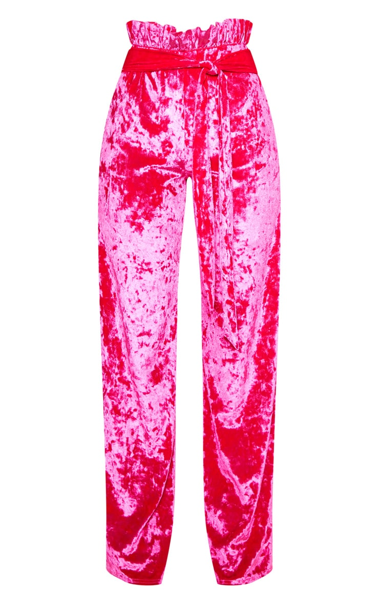 Hot Pink Velvet Paperbag Wide Leg Pants 3