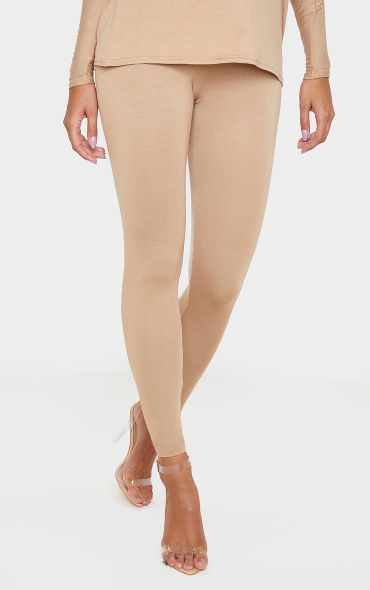 Legging taille haute en jersey camel 2