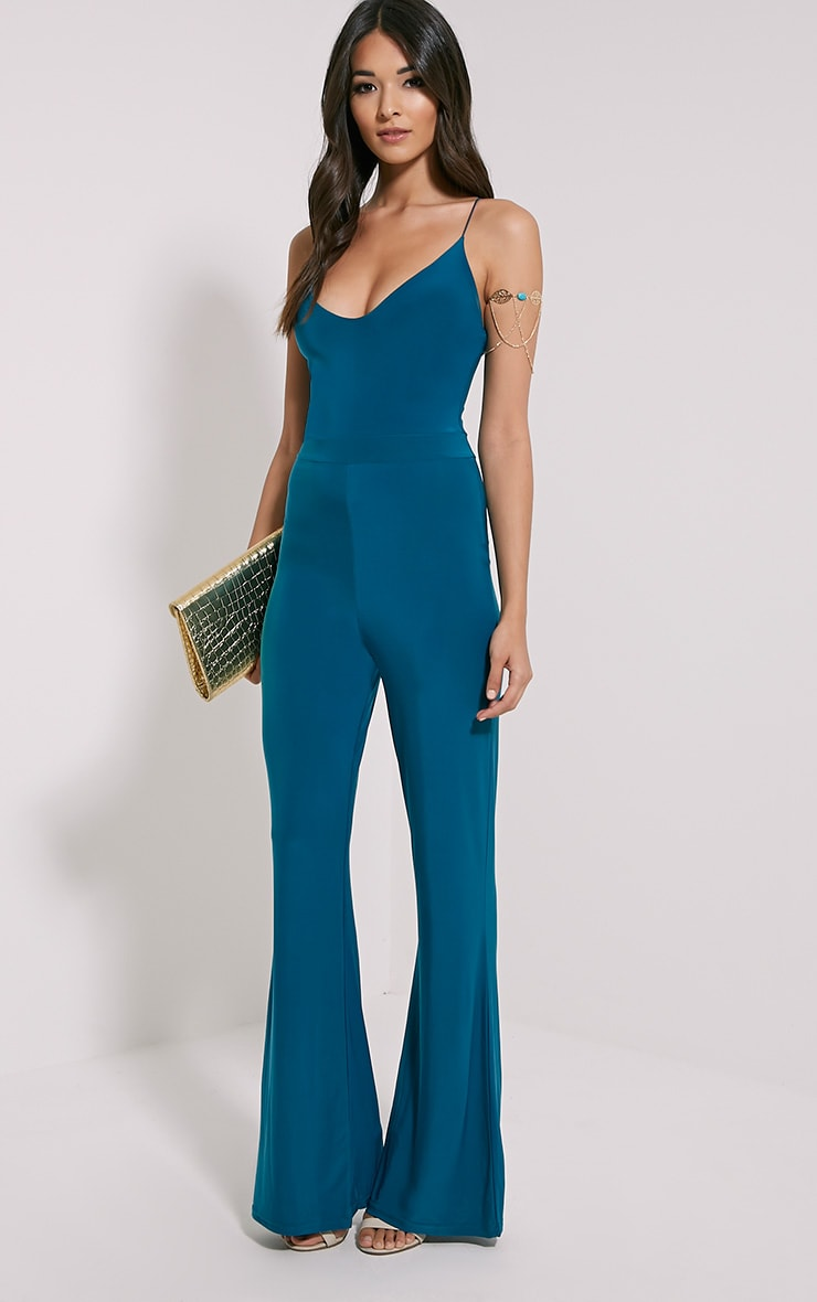 Lex Teal Cross Back Slinky Jumpsuit 4