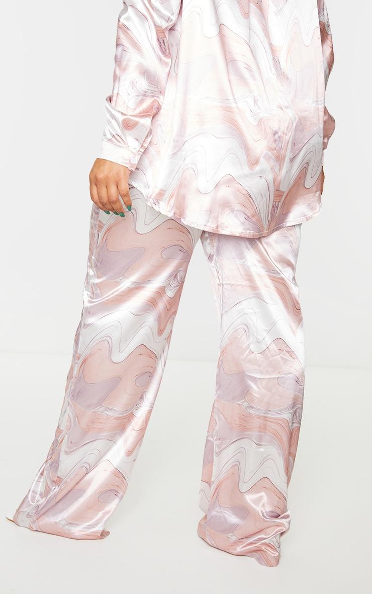 Plus Baby Pink Marble Print Wide Leg Pants 3