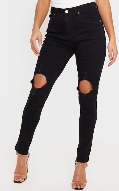 Petite Black Distressed Knee Skinny Jean