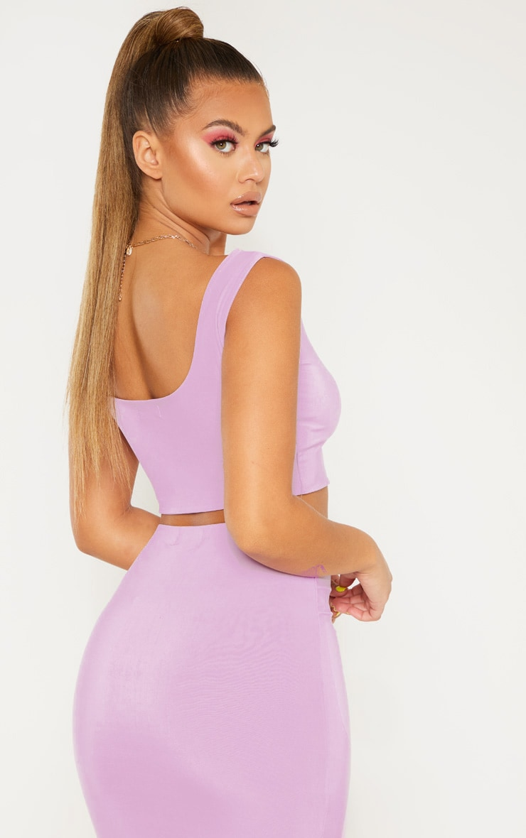 Lilac Slinky Round Neck Sleeveless Crop Top 1