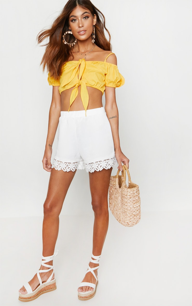 White Crochet Trim Short 1