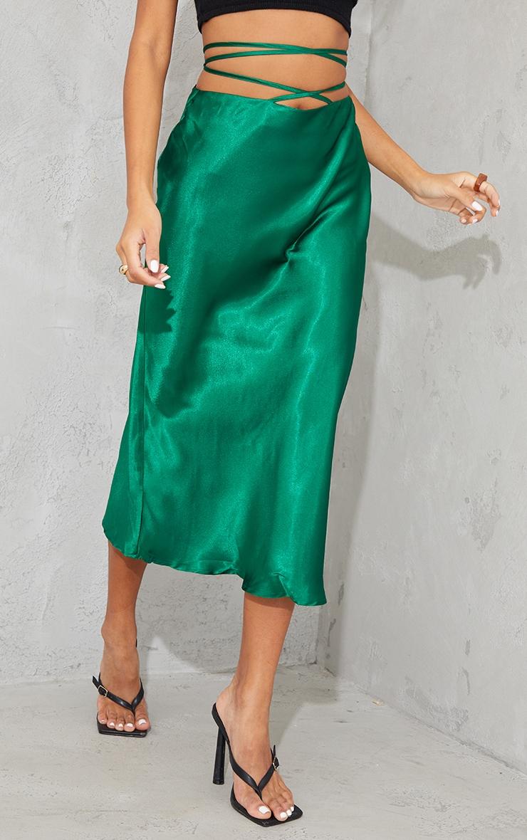 Green Satin Tie Waist Midi Skirt 2