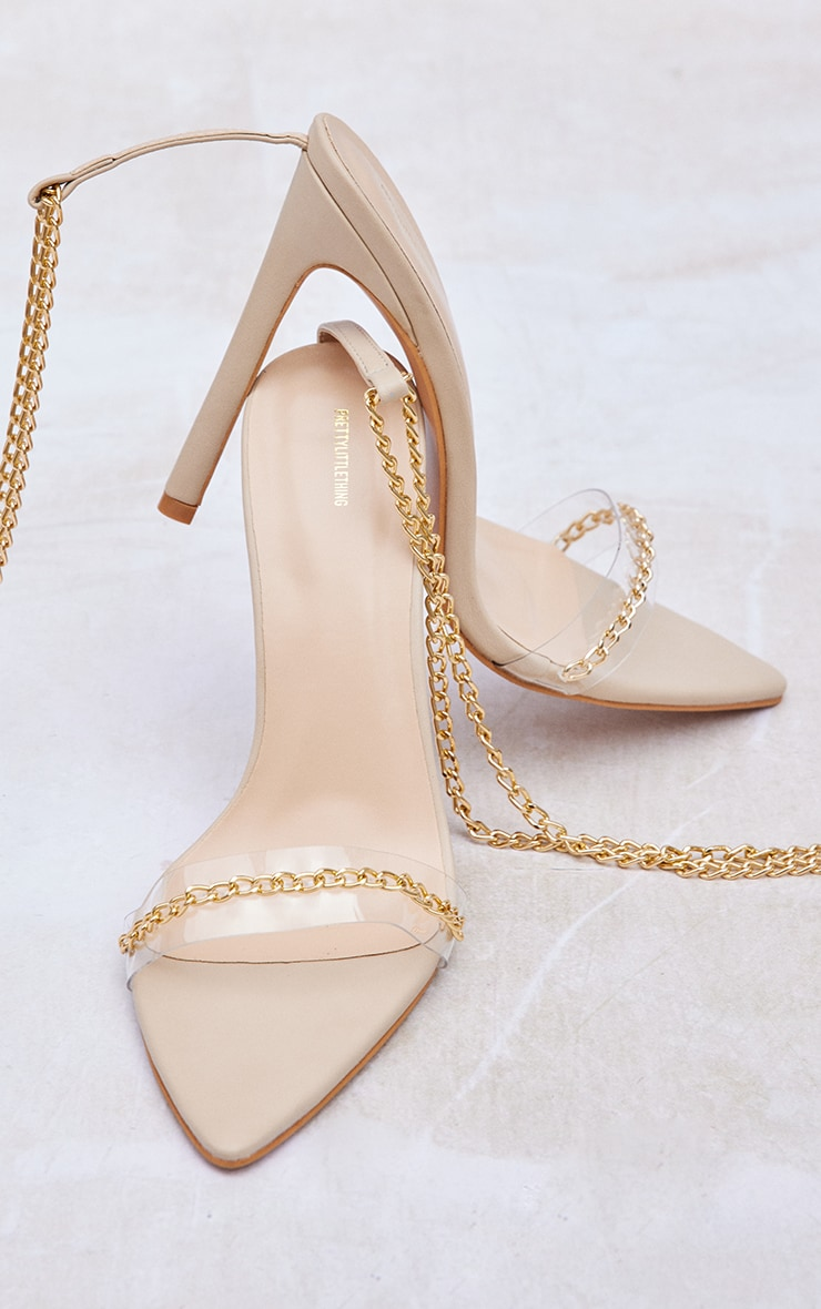 Nude Wide Fit Chain Detail Pointed Heeled Sandals 3