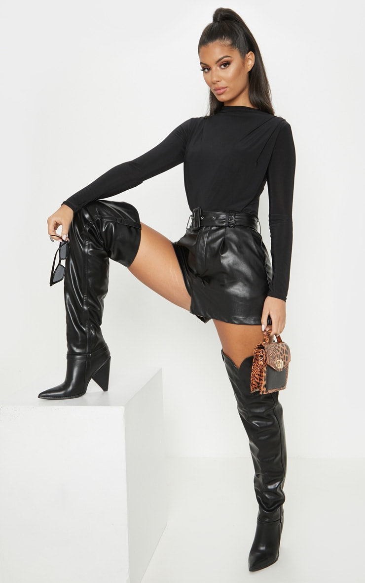 Black High Neck Ruched Slinky Bodysuit 4