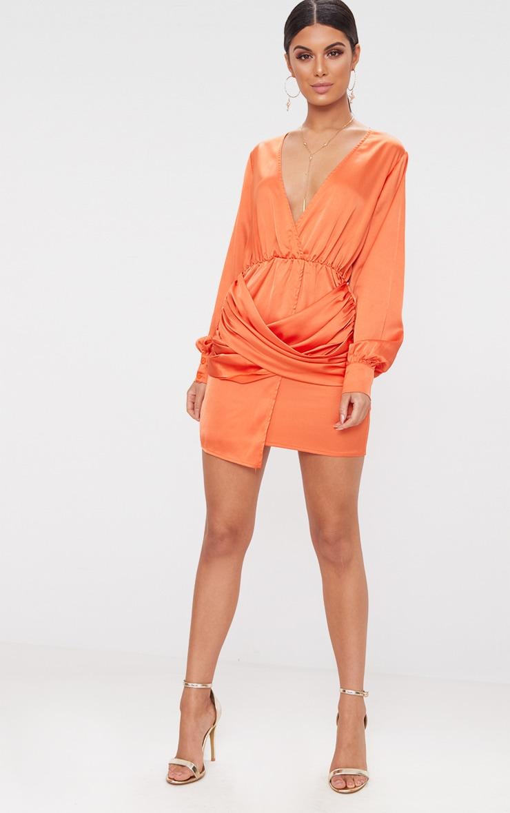 Orange satin halterneck wrap bodycon dress