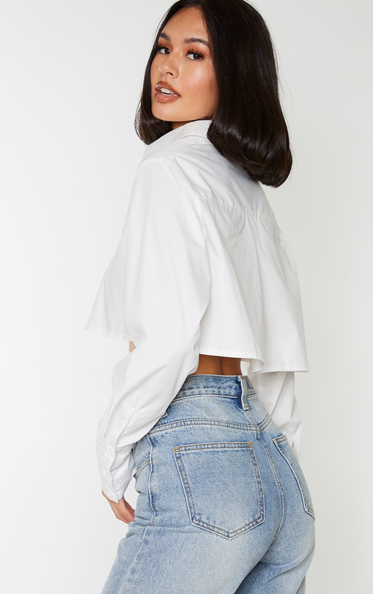 White Cotton Oversized Crop Shirt 2
