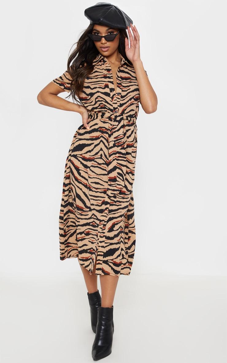 Camel Tiger Print Short Sleeve Midi Shirt Dress 1