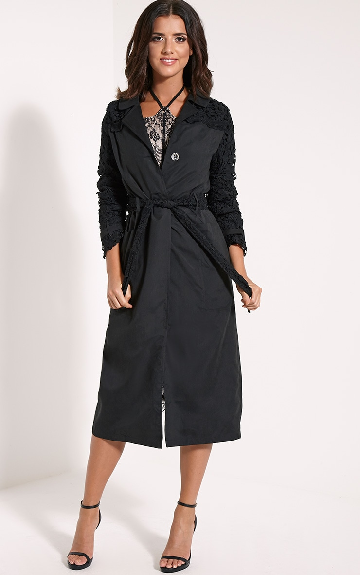 Karolina Black Crochet Lace Detail Trench Coat 4