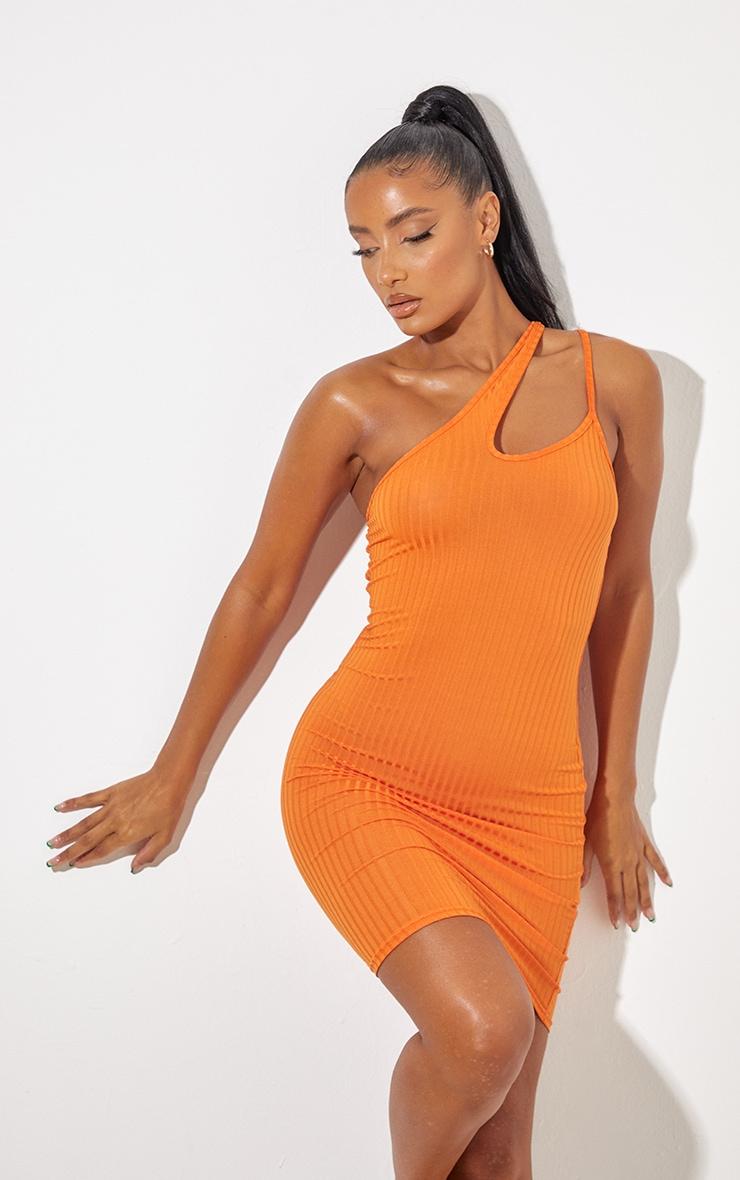Bright Orange Asymmetric Strap Detail Dress 1