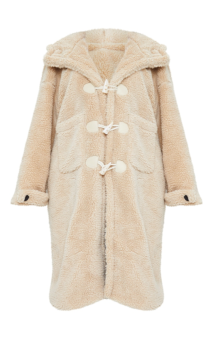 Sand Faux Fur Teddy Toggle Maxi Coat 5