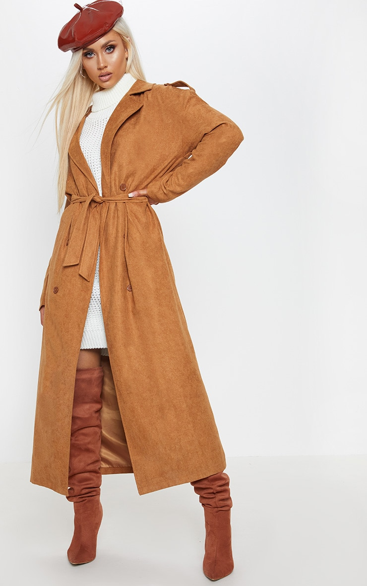 Tan Cord Belted Trench 1