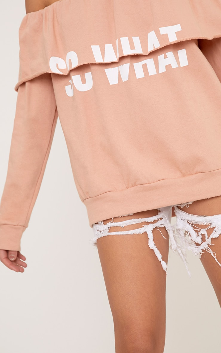 SO WHAT Slogan Dusty Coral Bardot Oversized Sweater 5