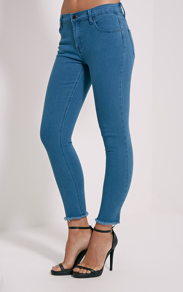 Galia Blue Mid Wash Raw Hem Jean 3
