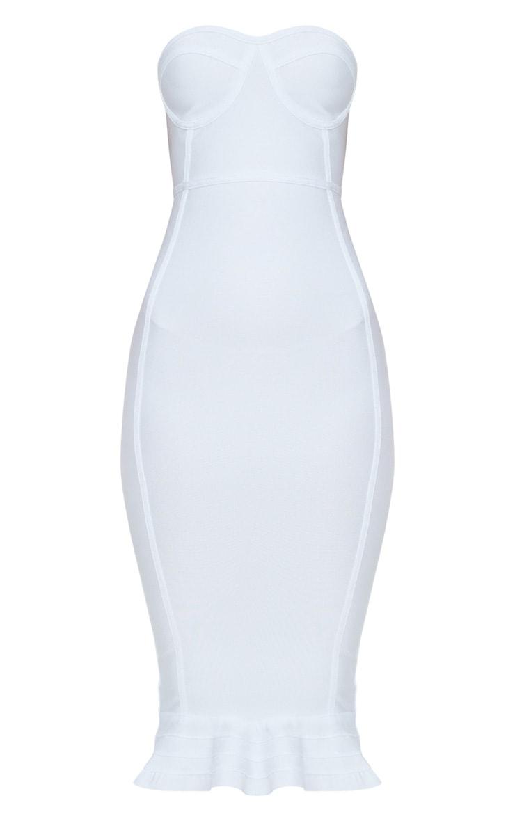 Roxina White Bandage Frill Hem Midi Dress 3