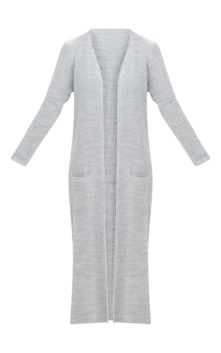 Grey Pocket Front Maxi Cardigan 3