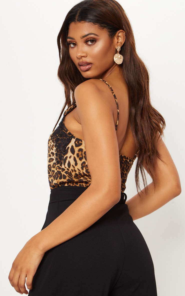 Tall Tan Leopard Print Satin Lace Trim Cami Top 2