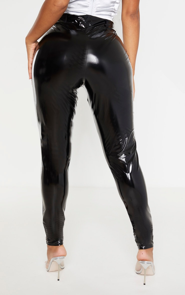 Shape Black Vinyl Button Detail Leggings 4